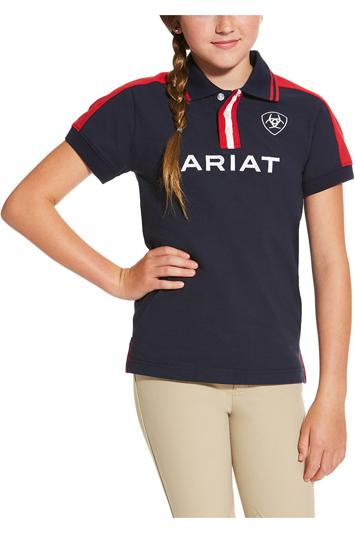 5324be55 Ariat Childrens New Team Polo Shirt - Navy | The Drillshed