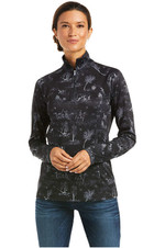 Ariat Womens Sunstopper 2.0 1/4 Zip Base Layer Top 10037462 - Ink Toile