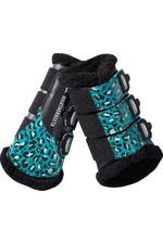 Weatherbeeta Leopard Brushing Boots 1006958008 Turquoise Leopard Print