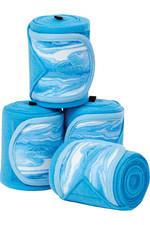 2021 Weatherbeeta Marble Fleece 3.5m Bandage 4 Pack 1008706 - Blue Swirl