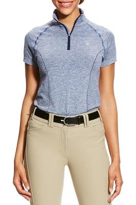 Ariat Womens Odyssey Seamless Short Sleeve 1/4 Zip Indigo Fade Heather