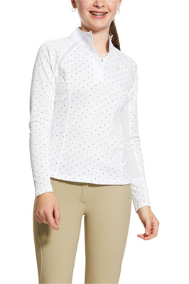 Ariat Girls Sunstopper 2.0 Show Shirt 10030448 - White / Plum Grey Dot