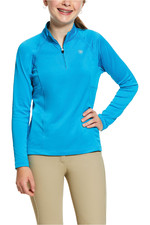 Ariat Girls Sunstopper 2.0 1/4 Zip Base Layer Top 10030443 - Nautilus