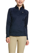 Ariat Girls Sunstopper 2.0 1/4 Zip Base Layer Top 10030444 - Navy Dot