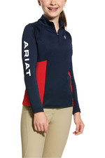 Ariat Girls Sunstopper 2.0 1/4 Zip Team Baselayer Top 10031006 - Navy