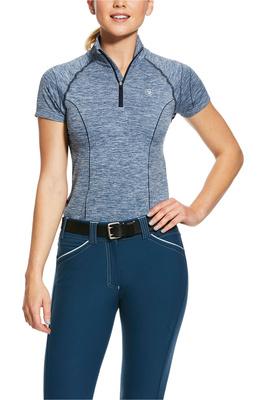 Ariat Womens Odyssey Seamless 1/4 Zip Short Sleeve Base Layer 10030503 - Deep Petroleum