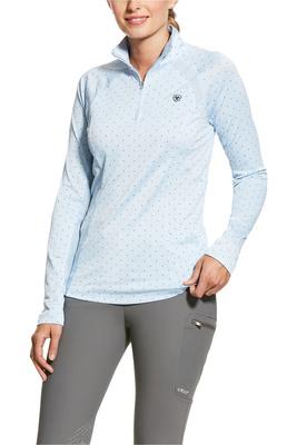 Ariat Womens Sunstopper 2.0 1/4 Zip Base Layer Top 10030431 - Blue Cashmere Dot