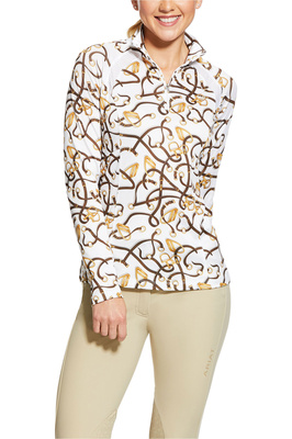 Ariat Womens Sunstopper 2.0 1/4 Zip Base Layer Top 10030437 - Bridle Print