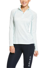 Ariat Womens Sunstopper 2.0 1/4 Zip Base Layer Top 10030442 - Duck Egg Dot