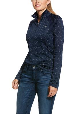 Ariat Womens Sunstopper 2.0 1/4 Zip Base Layer Top 10030462 - Navy Dot
