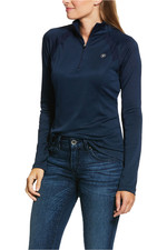 Ariat Womens Sunstopper 2.0 1/4 Zip Base Layer Top 10030464 - Navy