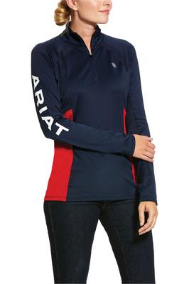 Ariat Womens Sunstopper 2.0 1/4 Zip Team Base Layer Top 10030991 - Navy