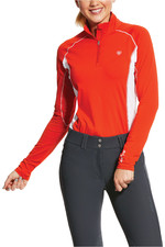Ariat Womens Tri Factor 1/4 Zip Base Layer Top 10030565 - Red Clay