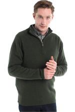 Dubarry Mens Mullen Half Zip Crew Sweater Olive