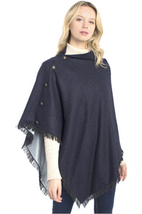 Dubarry Womens Hazelwood Tweed Poncho Navy