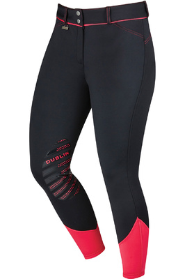 Dublin Womens Thermal Gel Knee Patch Breeches Black / Pink