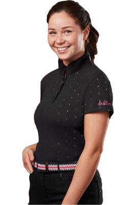 Dublin Womens Marine Short Sleeve Polo T-Shirt Black