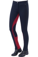 Dublin Womens Supa-Fit Euro Seat Zip Up Jodpurs - Navy / Red