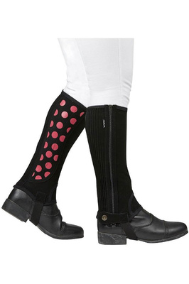 Dublin Childrens Easy-Care Spot Print Half Chaps Black / Pink