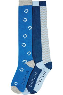 Dublin Horseshoe Socks - Pack of Three - Blue