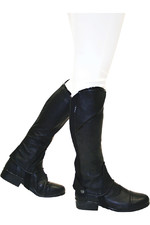 Dublin Stretch Fit Half Chaps With Patent Piping Black