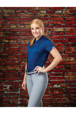 Dublin Womens Columba Short Sleeve Tech Polo Shirt Navy