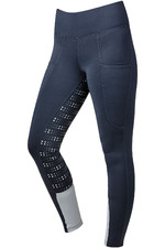 Dublin Womens Performance Cool-It Dot Print Gel Riding Tights - Navy Seal
