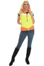 2021 Equisafety Charlotte Dujardin Hi Vis Multi Coloured Riding Gilet CD-MCG - Yellow / Orange