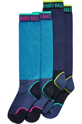 Harry Hall Womens Twin Pack Tex Technical Socks Teal