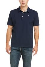 Ariat Mens Medal Short Sleeve Polo Navy 10035315