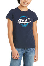 Ariat Youth Authentic Logo Short Sleeve T-Shirt Navy 10035271