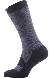 SealSkinz Walking Mid Thin Socks Grey Marl / Black