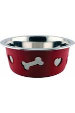 Weatherbeeta Non-Slip Stainless Steel Silicone Bone Dog Bowl - Raspberry