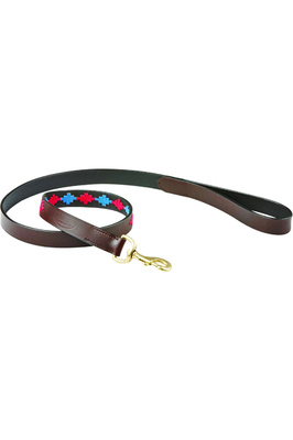 Weatherbeeta Polo Leather Dog Lead - Beaufort Brown / Pink / Blue