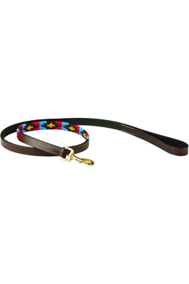 Weatherbeeta Polo Leather Dog Lead - Cowdray Brown/Pink / Blue / Yellow