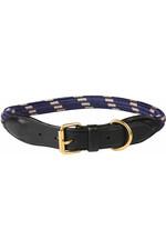Weatherbeeta Rope Leather Dog Collar - Navy / Brown
