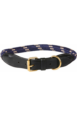 Weatherbeeta Rope Leather Dog Collar - Navy / Brown