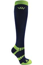 2021 Woof Wear Winter Riding Sock WW0015 - Navy / Lime